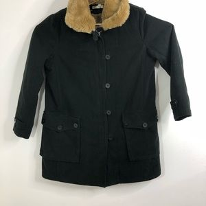 J Crew Black Cotton Coat removable faux fur liner